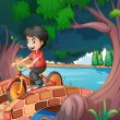 Stock Vector: A boy passing the bridge with a bike