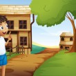 Stock Vector: Boy at pathway in neighborhood
