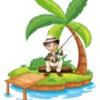 A man fishing in the island — Stock Vector