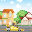 A boy in his racing car across the neighborhood — Stock Vector