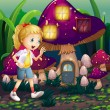 Young girl at enchanted mushroom house — Stok Vektör #29865971