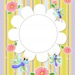 Stock Vector: A stationery template with flowers and butterflies