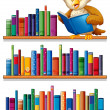An owl above the wooden bookshelves with books — Stock Vector