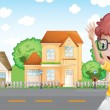 A boy jogging in front of the neighborhood — Stock Vector
