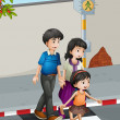 Stock Vector: A family crossing the street