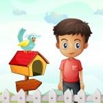A boy near the pethouse with a bird and a wooden arrowboard — Stock Vector #29866181