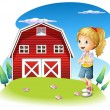 A girl in front of the red barnhouse in the hilltop — Stock Vector