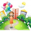 A young lady in the middle of the road with balloons — Stock Vector