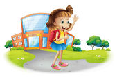 A girl going home from school — Stock Vector