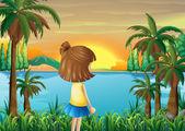 Een jong meisje dat kijken naar de rivier — Stockvector