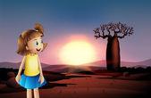 A small girl at the desert wearing a blue skirt — Stock Vector