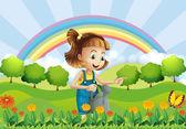 A young girl holding a sprinkler in the garden — Stock Vector