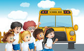 Young students waiting for the schoolbus — Stock Vector