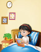 A young lady reading a storybook in her bed — Stock Vector