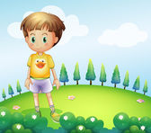 A kid standing at the hilltop — Stock Vector