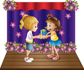 A girl giving gifts to her friend — Stock Vector