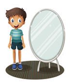 A boy standing beside the mirror — Stock Vector