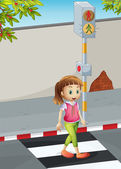 A young lady at the pedestrian lane — Stock Vector