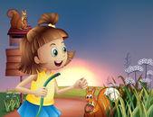 Una jovencita en la colina con una manguera de agua — Vector de stock