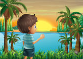 A boy watching the sunset at the riverbank — Stock Vector