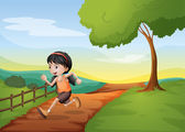 A girl running hurriedly at the hill — Stock Vector