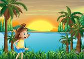 Uma jovem garota brincando perto do rio — Vetorial Stock