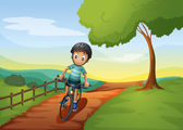 A boy going to the farm with his bike — 图库矢量图片