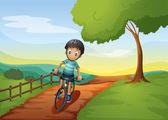 要去与他的自行车农场男孩 — 图库矢量图片