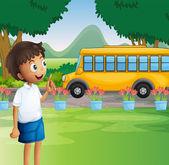 A young boy ready for school — Stock Vector