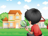 A boy with a magnifying glass studying the grasses — Stock Vector