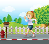 A girl jogging at the street — Stock Vector