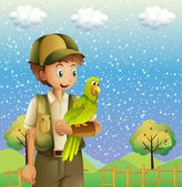 A boy holding a green parrot — Stock Vector