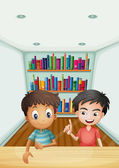 Two boys in front of the bookshelves with books — Stock Vector