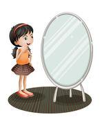 A girl facing the mirror — Stock Vector