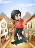 A boy skateboarding near the saloon bars — Stock Vector