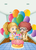 A birthday party inside the house — Stock Vector
