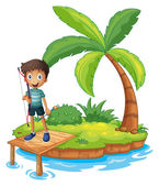 An island with a boy holding an archery — Stock Vector