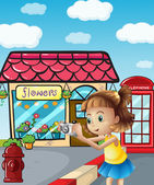 A girl taking photos at the street — Stock Vector