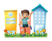 A boy waving in front of the high buildings — Stock Vector