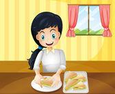 A happy woman preparing sandwiches — Stock Vector