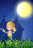 Una chica bajo la brillante luna llena — Vector de stock