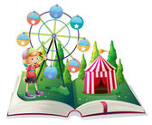 An open storybook with a carnival and a young boy — Stock Vector