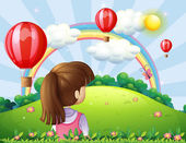 A young lady watching the floating balloons and rainbow — Stock Vector