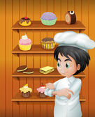 A chef in front of the baked goodies — Stock Vector