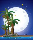 明るい満月と青い海 — ストックベクタ