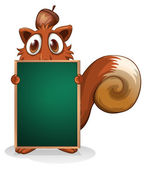 A squirrel hiding at the back of an empty blackboard — Stock Vector
