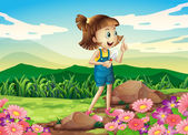 A girl holding a shovel at the flower garden — Stock Vector