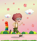 A curly boy running — Stock Vector