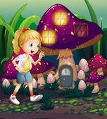 A young girl at the enchanted mushroom house — Stok Vektör