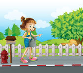 A girl walking in the street with a sprinkler — Stock Vector